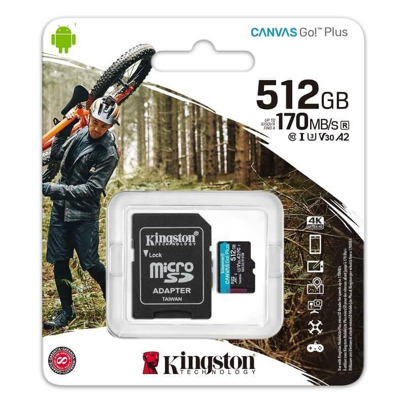 KINGSTON CANVAS GO PLUS MICRO SDXC 512GB + ADAPTER CLASS 10 UHS-I U3 A2 V30 170/90 MB/S